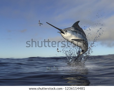 Beatiful marlin swordfish jumping out of water to catch flying fish 3d Render