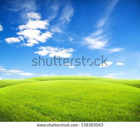 Beatiful morning green field with blue heaven - Shutterstock ID 138383063