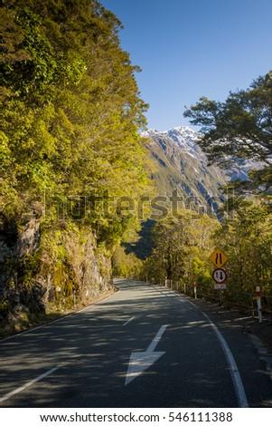 Beatiful scenery along way to Milford sound new zealand #546111388