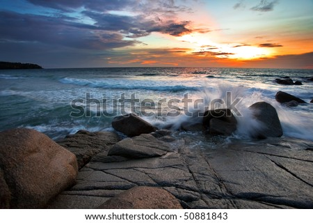Beatiful sunset on the rocks