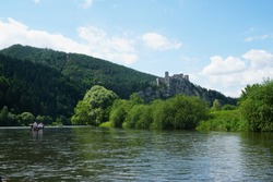 Beatiful view on ruins of medieval castle Starhrad from river Vah near Zilina, Slovakia