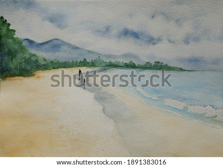 Beau Vallon beach, Mahe island, Seychelles in gloomy day handpainted watercolor illustration Photo stock ©