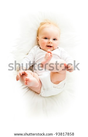 Beaufiful caucasian infant baby girl isolated on white