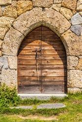 Beaufort-sur-Doron, France - July 31, 2009: Lac de Roselend. The chapel door.