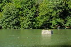 Beauiful Maksimir park lake, placed in wonderful, dense, green forest of Zagreb city, Croatia