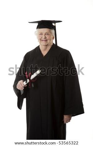 Beauitiful Caucasian woman in a black graduation gown