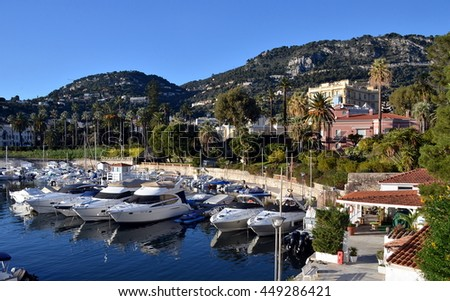 BEAULIEU-SUR-MER, FRANCE - January 23: Famous village of Cote d'Azur: Beaulieu-sur-Mer is the destination for vacations and luxury resort.