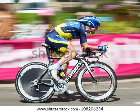 BEAUROUVRE,FRANCE,JUL 21:The cyclist  Nuyens Nick (Saxo-Bank Thinkoff Bank) riding during the 19 stage- a time trial  between Bonneval and Chartres- of Le Tour de France on July 21 2012.