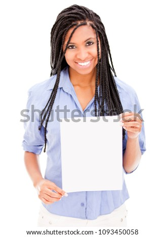 Beautful african descent holding a white flyer