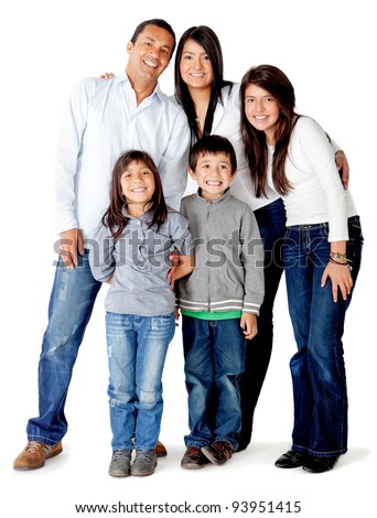Beautful five memberLatin american family - isolated over a white background
