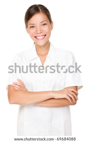 Beautician. Beauty spa massage therapist woman portrait isolated on white background. Mixed race Asian Caucasian model.
