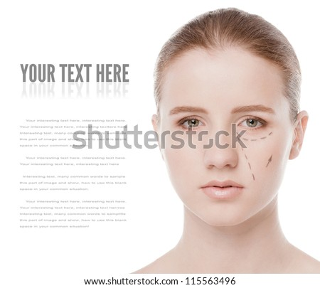 Beautician draw correction lines on woman face. Before plastic surgery operetion. Isolated on white