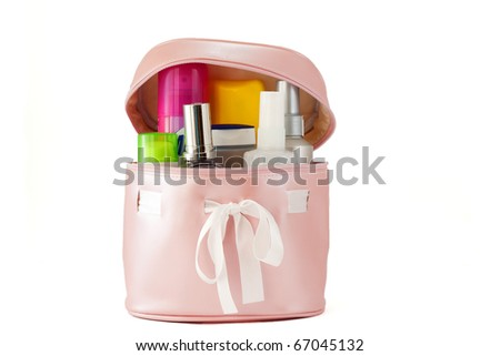 Beautician full of creams and cosmetics, body care
