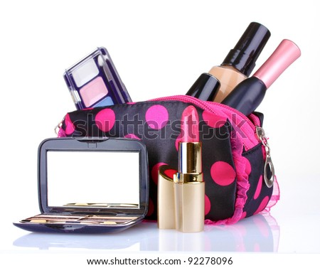 beautician with makeup isolated on white