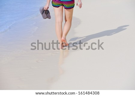 beautifel and happy woman girl on beach have fun and relax on summer vacation  over the beautiful tropical sea #161484308