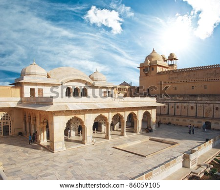 Beautifoul Amber Fort near Jaipur city in India. Rajasthan - stock photo