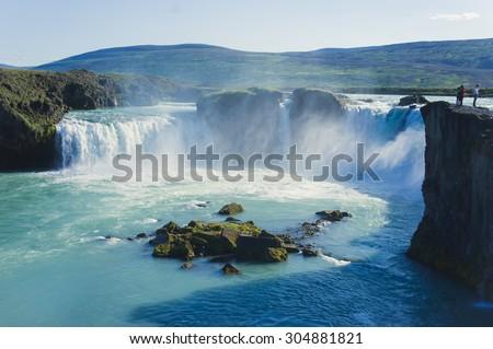Beautifu vibrant summer panorama picture with a view on icelandic waterfall in iceland goddafoss gullfoss skogafoss skogarfoss dettifoss seljalandsfoss