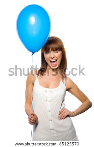 beautifu woman holding balloons