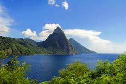 Beautiful above view of tropical beach and sea, Santa Lucia island, Caribbean