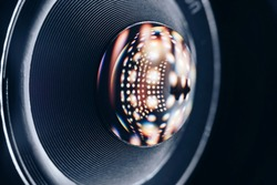 Beautiful abstract camera lens background multi colored glass reflection.