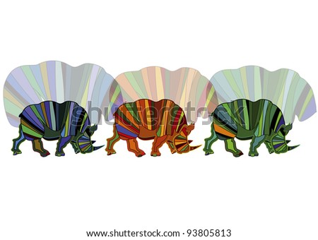 beautiful abstract color rhinoceros on a white background