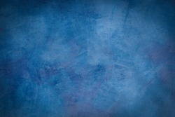 Beautiful Abstract Grunge Decorative Navy Blue Dark Stucco Wall Background. Art Rough Stylized Texture Banner. Have Space For Text.