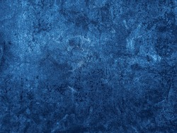 Beautiful Abstract Grunge Decorative Navy Blue Dark Stucco Wall Background. Art Rough Stylized Texture Banner With Space For Text