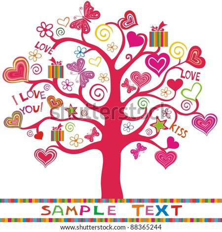 beautiful abstract heart tree. Wedding or Valentine  background.
