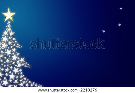 Beautiful abstract of Christmas tree with stars with free space for your text