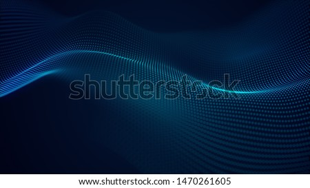 beautiful abstract wave technology background with blue light digital effect corporate concept stock photo