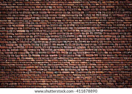 Beautiful accurate textured brick wall on a bright sunny day. Brick background