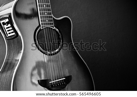 Beautiful Acoustic Guitar With Equalizer In Color Black And White