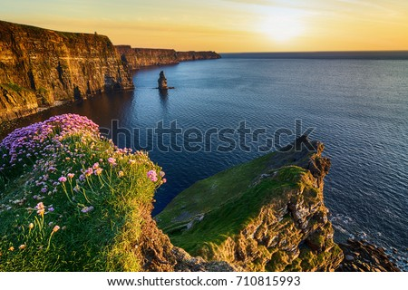 beautiful aerial drone birds eye view cliffs of moher sunset in county clare ireland. tourist attraction along the wild atlantic way unesco global geopark. European Atlantic Geotourism Route Stock fotó ©