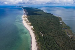 Beautiful aerial drone wide view of Curonian spit, Kurshskaya Kosa National Park, Curonian Lagoon and the Baltic Sea,  Kaliningrad Oblast, Russia and Klaipeda County, Lithuania, summer day