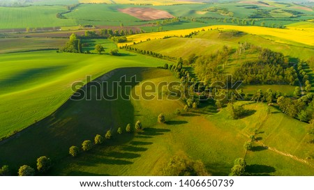 Beautiful aerial landscape in Moravia, Czech Republic. Sunrise over rolling hills in Moravia, aerial drone view.  Foto stock ©