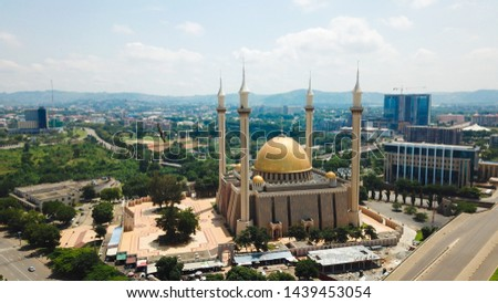 Beautiful Aerial landscape of The National Mosque Abuja City Nigeria #1439453054
