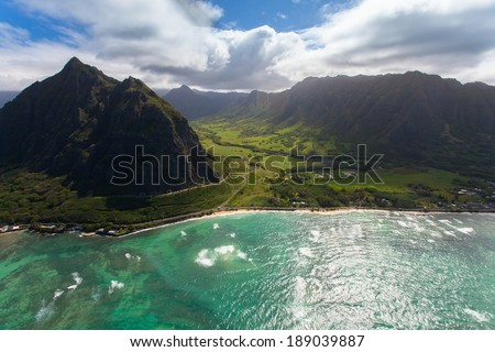 Beautiful aerial of Hawaii's coastline
