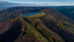 Beautiful aerial panorama of the Zar mountain and Beskid Maly, Silesia, Poland