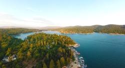 Beautiful aerial panoramic view of Lake Arrowhead, California