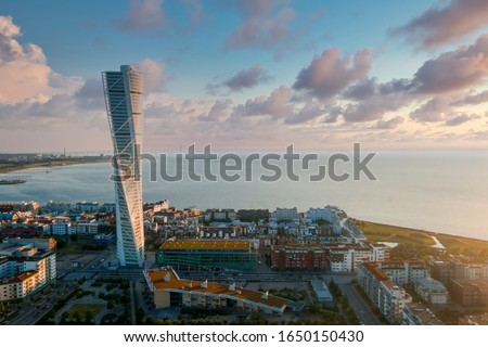 Beautiful aerial panoramic view of the Malmo city in Sweden by the sea with the Oresund bridge visible on the horizon. Stock photo ©