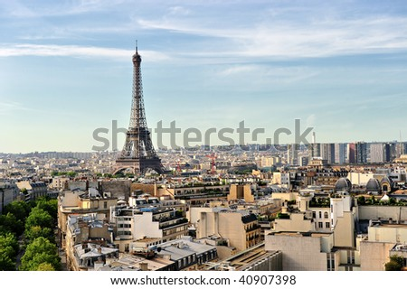 Beautiful aerial photo of the Eiffel Tower in Paris - stock photo