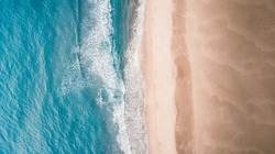 beautiful aerial sand beach and blue sea view of the patara beach