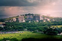 Beautiful aerial view landscape of green Pune city, Maharashtra, India