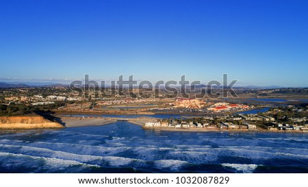 Beautiful aerial view of a world famous part of the historical, olde Del Mar in San Diego County California Stock fotó ©