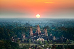 Beautiful aerial view of Angkor Wat at sunrise, Siem Reap, Cambodia