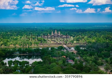 beautiful aerial view of angkor ...