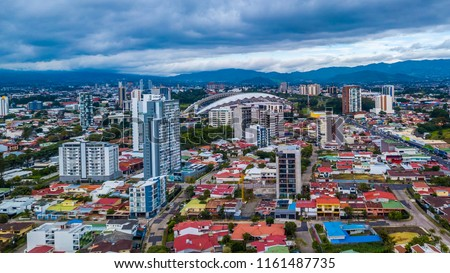 Beautiful aerial view of Costa Ricas San Jose city #1161487735