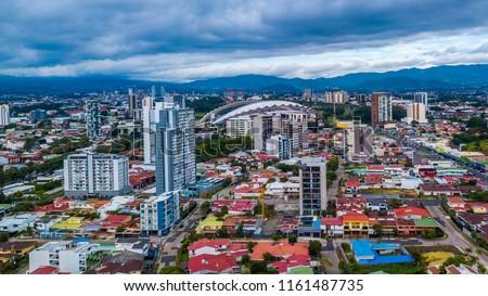 Beautiful aerial view of Costa Ricas San Jose city #1161487735