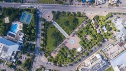 Beautiful aerial view of Emancipation Park in Jamaica Kingston