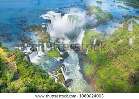 Beautiful aerial view of Iguazu Falls from the helicopter ride, one of the Seven Natural Wonders of the World - Foz do Iguaçu, Brazil
